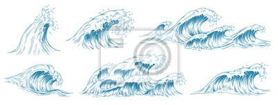 Fototapeta Sea waves sketch. Storm wave, vintage tide and ocean beach storms hand drawn vector illustration set