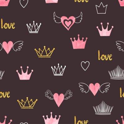 Fototapeta Seamess wzór z doodle koronami i sercami. Mały projekt księżniczki