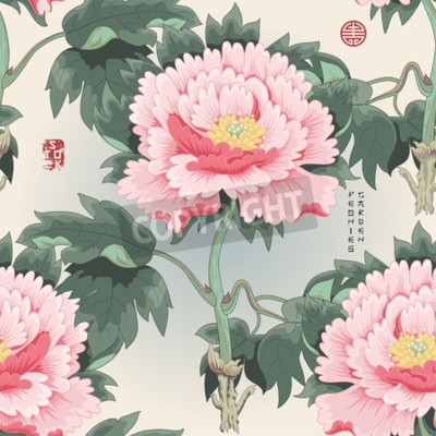 Fototapeta Seamless background with tree peony. Vector illustration imitates traditional Chinese ink painting