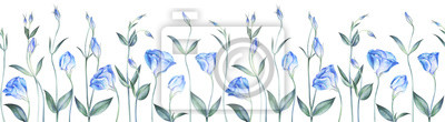 Seamless border with eustoma flowers isolated on white. Watercolor illustration.