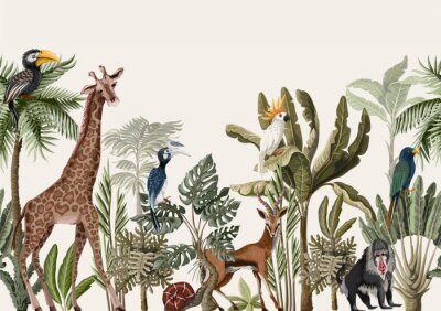 Fototapeta Seamless border with tropical tree such as palm, banana and jungle animals. Vector.