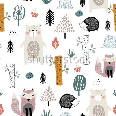Fototapeta Seamless childish pattern with cute bear, fox, hedgehogs in the wood. Creative kids scandinavian style texture for fabric, wrapping, textile, wallpaper, apparel. Vector illustration