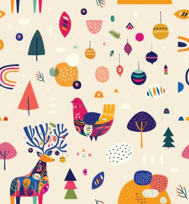 Seamless Christmas pattern with amazing deer and colorful bird