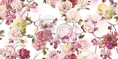 Seamless floral pattern, watercolor.