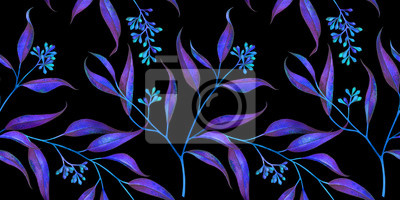 Seamless floral pattern with eucalyptus branches. Watercolor illustration.