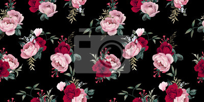 Seamless floral pattern with flowers on dark background, watercolor. Template design for textiles, interior, clothes, wallpaper. Botanical art