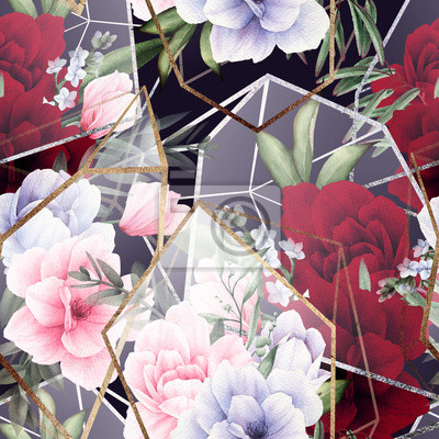 Seamless floral pattern with flowers on dark background, watercolor. Template design for textiles, interior, clothes, wallpaper. The geometry of the crystal. Golden texture