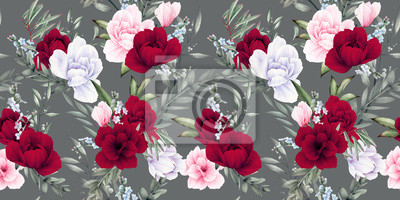 Seamless floral pattern with flowers on gray background, watercolor. Template design for textiles, interior, clothes, wallpaper. Botanical art