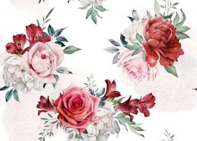 Seamless floral pattern with flowers on light background, watercolor. Template design for textiles, interior, clothes, wallpaper. Botanical art