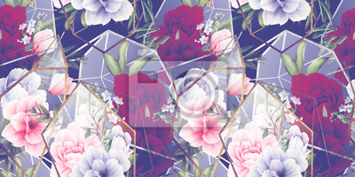 Seamless floral pattern with flowers on light background, watercolor. Template design for textiles, interior, clothes, wallpaper. The geometry of the crystal. Golden texture