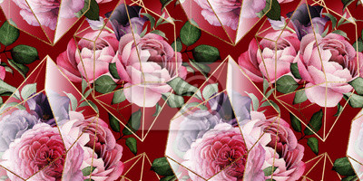 Seamless floral pattern with flowers on red background, watercolor. Template design for textiles, interior, clothes, wallpaper. The geometry of the crystal. Golden texture
