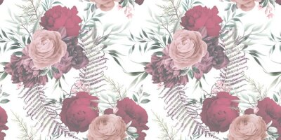 Seamless floral pattern with flowers on summer background, watercolor. Template design for textiles, interior, clothes, wallpaper. Botanical art