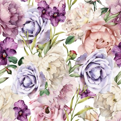 Seamless floral pattern with flowers, watercolor. Template design for textiles, interior, clothes, wallpaper. Botanical art