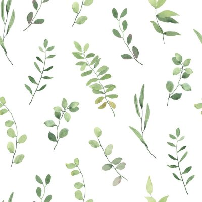 Fototapeta Seamless floral pattern with green leaves on branches, watercolor illustration isolated on white background.