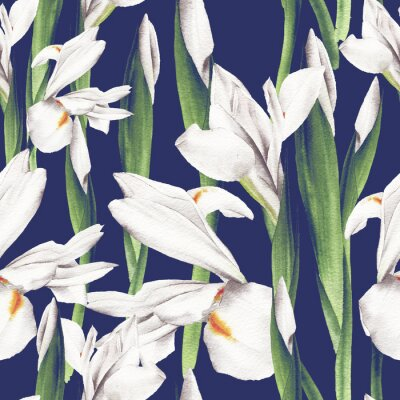 Seamless floral pattern with irises, watercolor.
