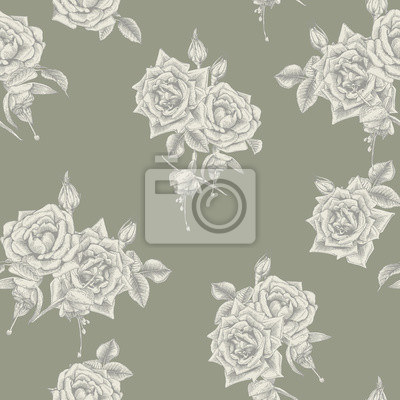 Seamless floral pattern with  on gray background. Engraving style. Template design for textiles, interior, clothes, wallpaper. Botany. Vector illustration art