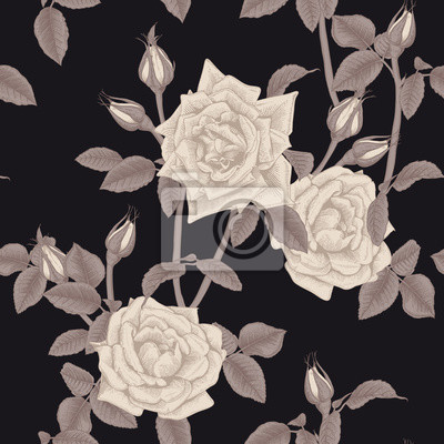 Seamless floral pattern with  on light background. Engraving style. Template design for textiles, interior, clothes, wallpaper. Botany. Vector illustration art