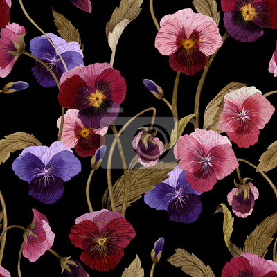 Seamless floral pattern with pansy, watercolor