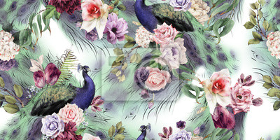 Seamless floral pattern with peacock, watercolor.