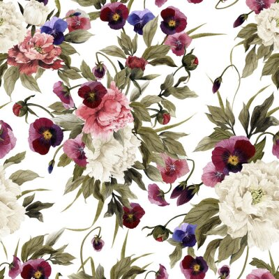Seamless floral pattern with peonies and pansy, watercolor