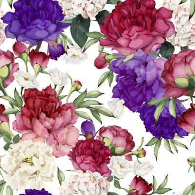 Seamless floral pattern with peonies. Vector