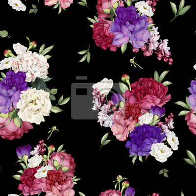 Seamless floral pattern with peonies, watercolor. Vector illustration.