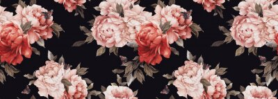 Fototapeta Seamless floral pattern with peony flowers on summer background, watercolor. Template design for textiles, interior, clothes, wallpaper. Botanical art