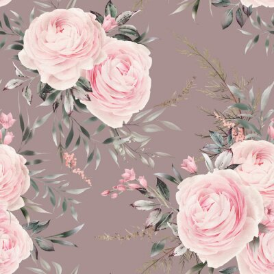 Seamless floral pattern with pink flowers on summer background, watercolor. Template design for textiles, interior, clothes, wallpaper. Botanical art