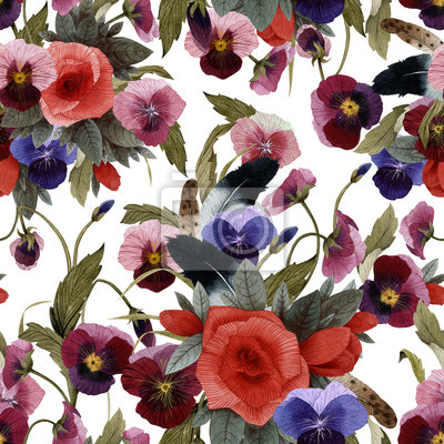 Seamless floral pattern with roses and pansy, watercolor
