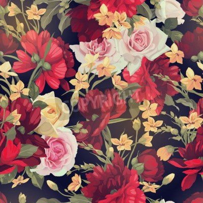 Fototapeta Seamless floral pattern with roses. Vector illustration.