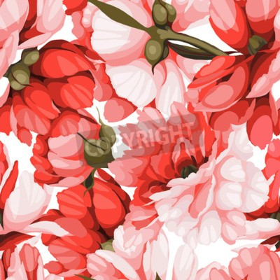 Fototapeta Seamless floral pattern with roses, watercolor. Vector illustration.