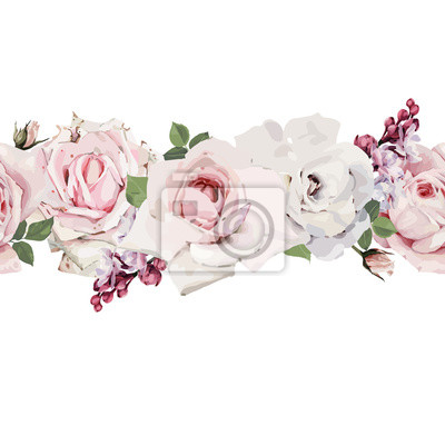 Seamless floral pattern with roses, watercolor. Vector illustration.