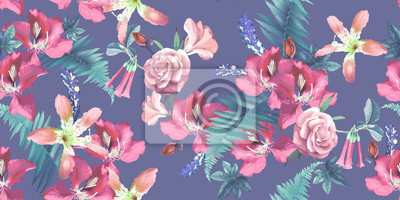 Seamless floral pattern with tropical flowers on light background. Template design for textiles, interior, clothes, wallpaper. Vector illustration.  Botanical art.