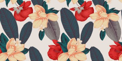 Fototapeta Seamless floral pattern with tropical flowers on light background. Template design for textiles, interior, clothes, wallpaper. Vector illustration.  Botanical art.  Engraving style