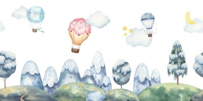 Fototapeta Seamless landscape pattern for kids design with mountains, balloons, snow-covered trees, stars, moon. watercolor illustration on white background. Illustration for greeting cards, interior.