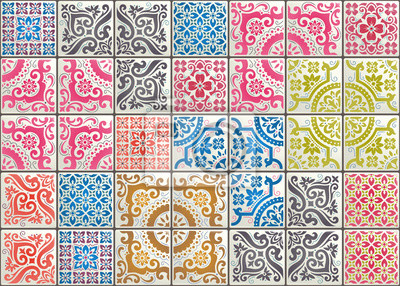 Fototapeta Seamless patchwork tile with Victorian motives. Majolica pottery tile, colored azulejo, original traditional Portuguese and Spain decor. Trend illustration for print wallpaper, fabric, paper and more