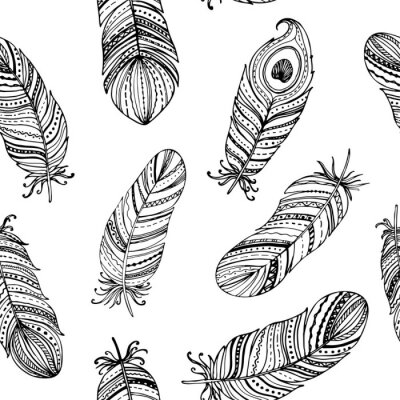 Seamless pattern black and white feathers collection. Floral hand drawn vintage set. Sketch art doodle illustration. Element design for greeting cards and invitations.