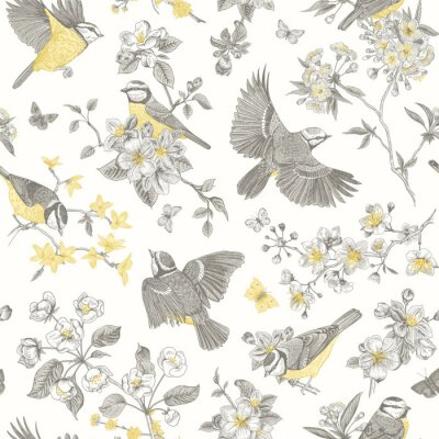 Fototapeta Seamless pattern. Classis vintage illustration. Blossom garden with tits. Birds and flowers. Yellow and gray