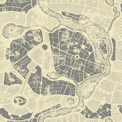 Fototapeta Seamless pattern in form of an old abstract city map in grunge style. Residential districts with parks and river on vintage beige backdrop. Vector monochrome background with roads map and streets plan