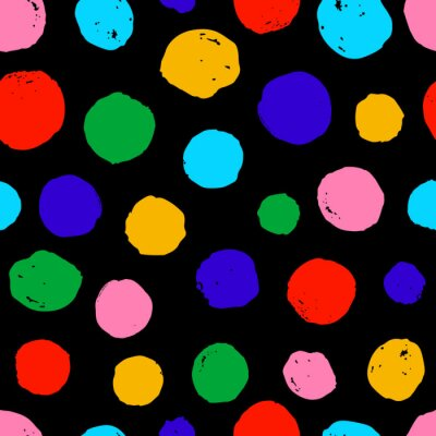 seamless pattern ink circles shapes. hand painted brush strokes. Black Background dots polka design for greeting cards and invitations of the wedding, birthday, Valentine's Day, fabric, textile