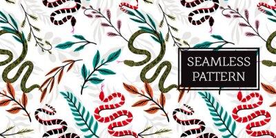 Fototapeta seamless pattern leaves and snake trendy style