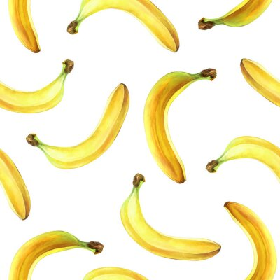 Seamless pattern with bananas isolated on white. Watercolor illustration.