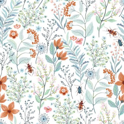 Fototapeta Seamless pattern with brown and turquoise beetles, abstract flowers, branches, leaves. Vector floral illustration on white background. Cute template for swatch.