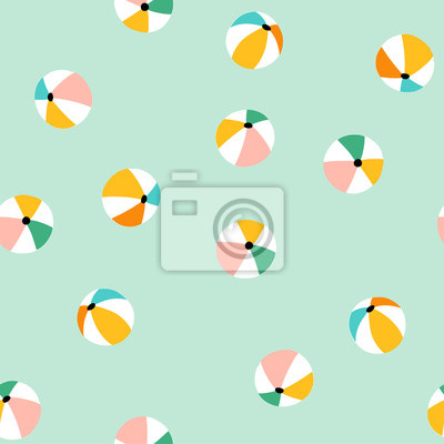 Fototapeta Seamless pattern with colorful beach balls. Vector summer vacation repeat design.