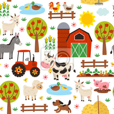 Fototapeta seamless pattern with farm animals on white background - vector illustration, eps