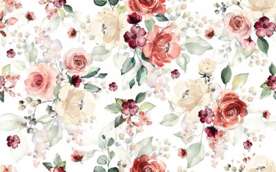 Fototapeta Seamless pattern with flowers and leaves. Hand drawn background.  floral pattern for wallpaper or fabric. Flower rose. Botanic Tile.