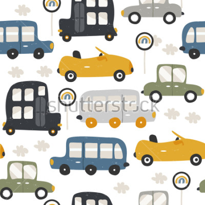 Fototapeta Seamless pattern with funny cars. Fashion kids print. Vector hand drawn illustration.