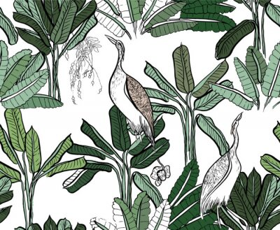 Fototapeta Seamless Pattern with Green Leaves, Heron Birds in Palm Trees on White Background, India Rainforest Tropical Plants Doodle Drawing Print, Jungle Textile Design