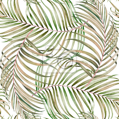 Seamless pattern with palm branches. Watercolor hand drawn illustration.