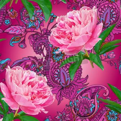 Fototapeta Seamless pattern with peonies